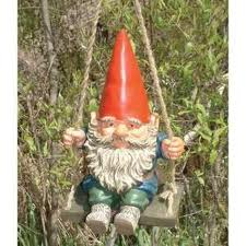 Garden Gnome on swing